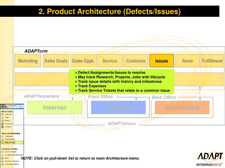 2. Product Architecture (Defects/Issues)