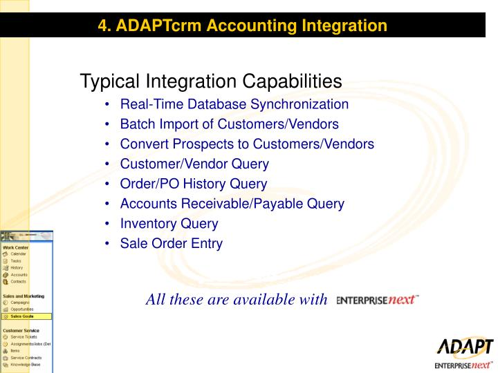 4. ADAPTcrm Accounting Integration