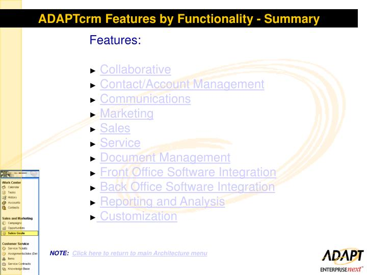 ADAPTcrm Features by Functionality - Summary