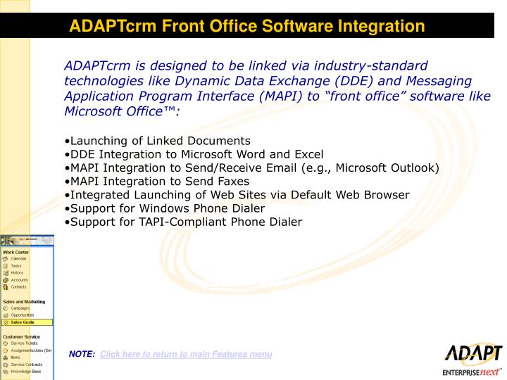 ADAPTcrm Front Office Software Integration