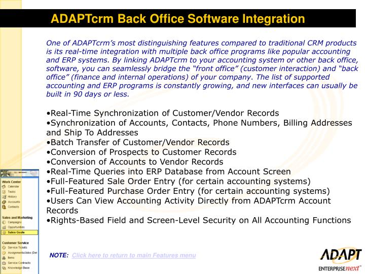ADAPTcrm Back Office Software Integration