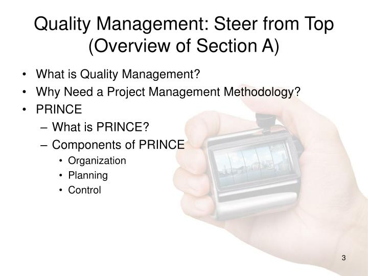 Quality management steer from top overview of section a