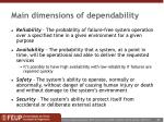 main dimensions of dependability