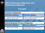 bsc performance objectives and performance measures