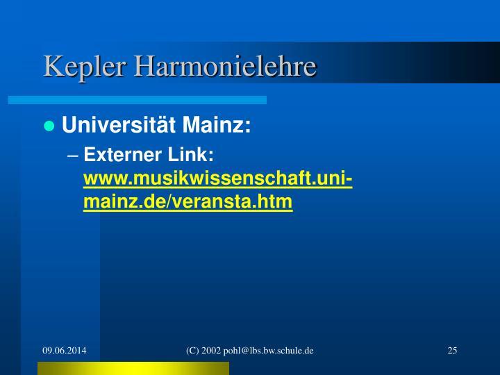 Kepler Harmonielehre