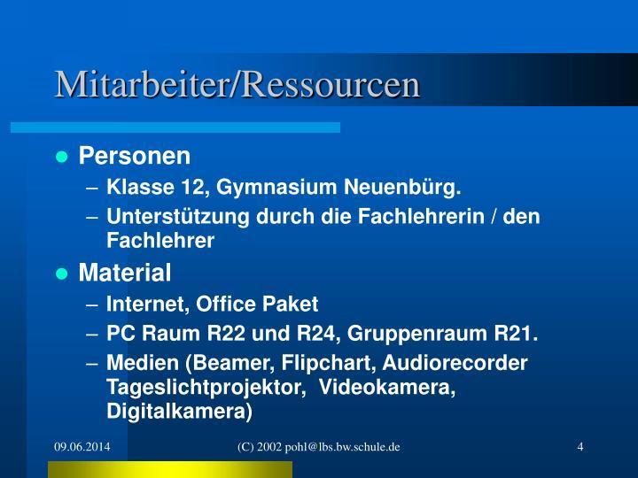 Mitarbeiter/Ressourcen