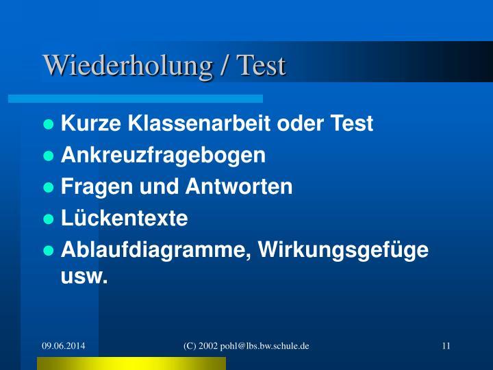 Wiederholung / Test