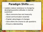 paradigm shifts cont