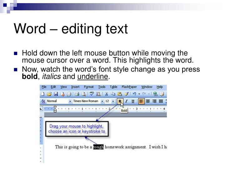 Word – editing text
