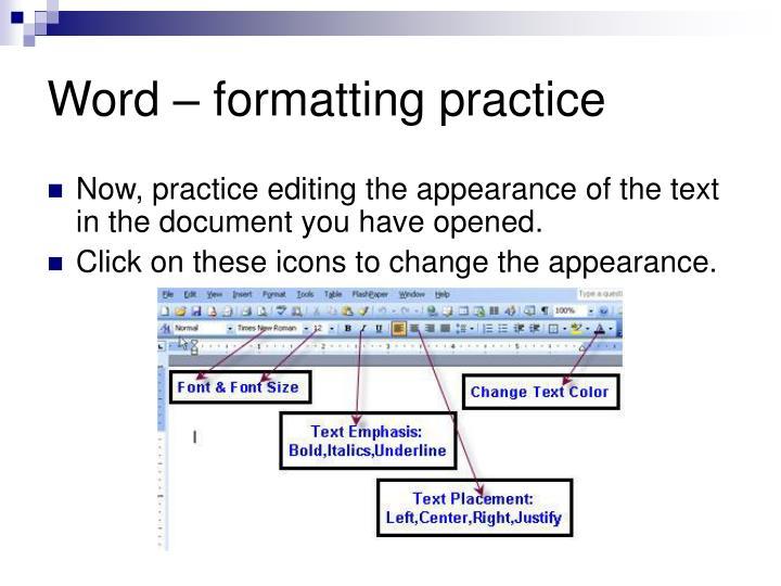 Word – formatting practice