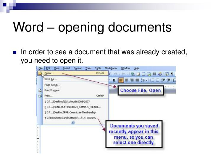 Word – opening documents