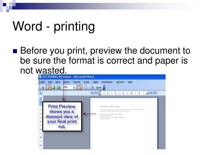 Word - printing