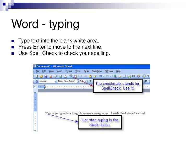 Word - typing
