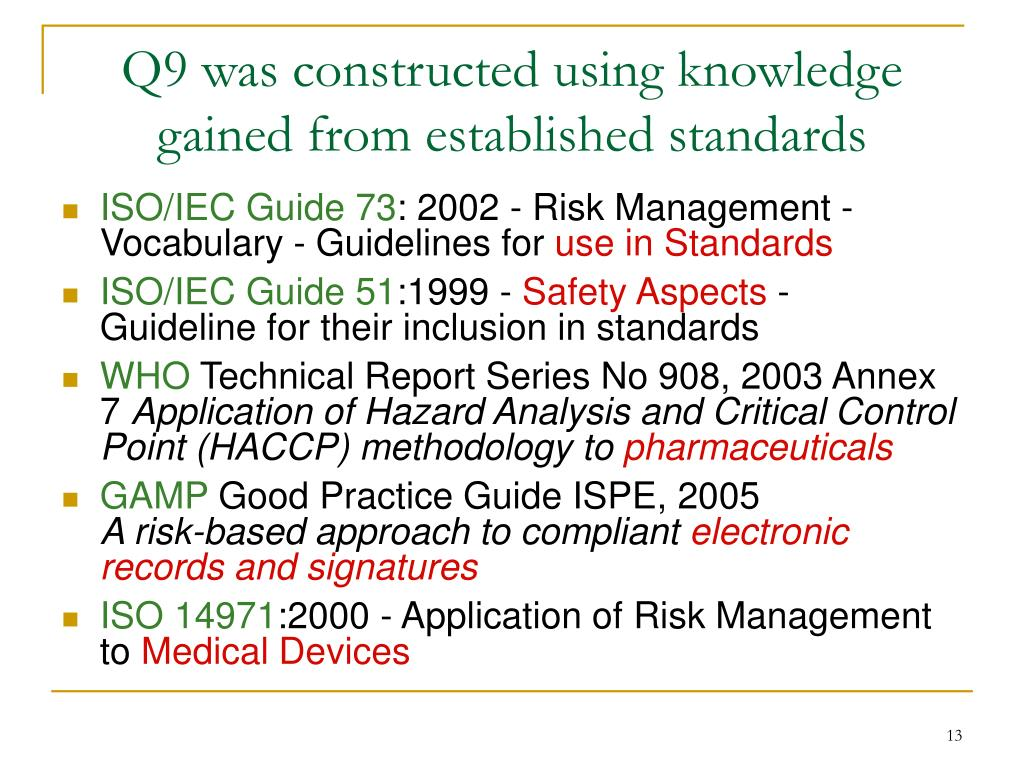 Q9 was constructed using knowledge gained from established standards