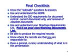 final checklists