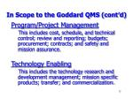 in scope to the goddard qms cont d