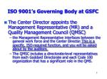 iso 9001 s governing body at gsfc