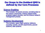 our scope to the goddard qms is defined by our core processes