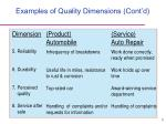 examples of quality dimensions cont d