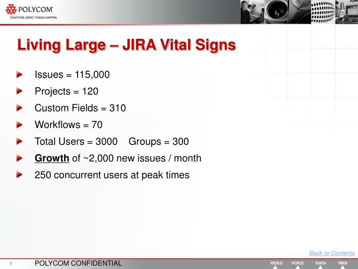 Living Large – JIRA Vital Signs