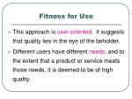fitness for use