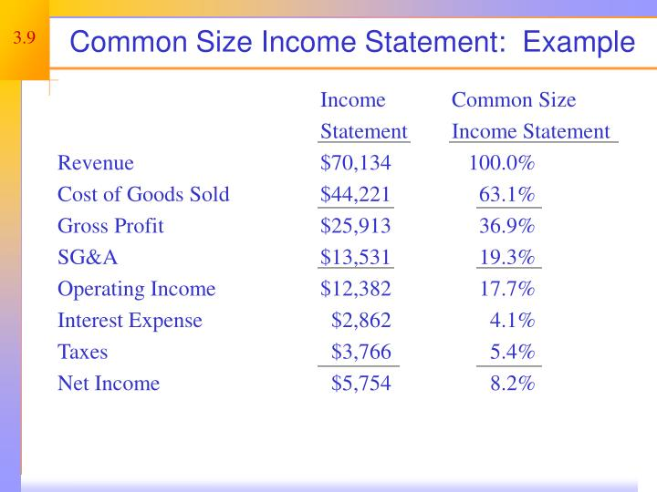 Common Size Income Statement:  Example