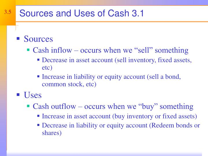 Sources and Uses of Cash 3.1