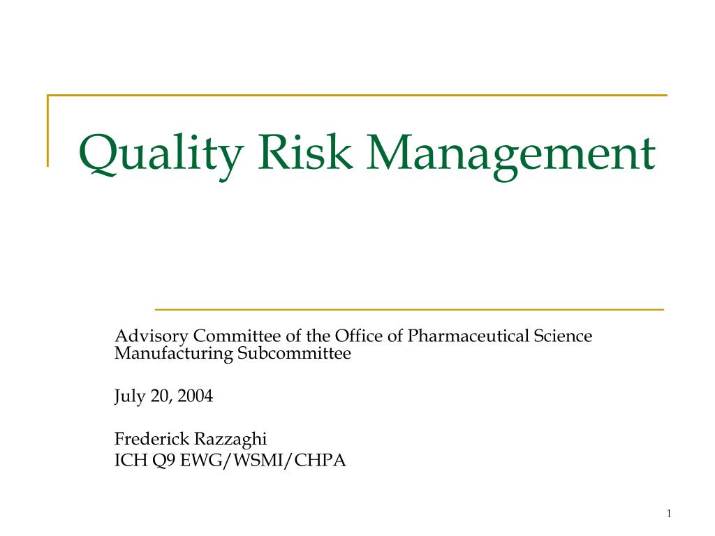 quality risk management l.