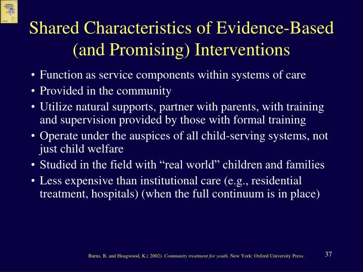 Shared Characteristics of Evidence-Based