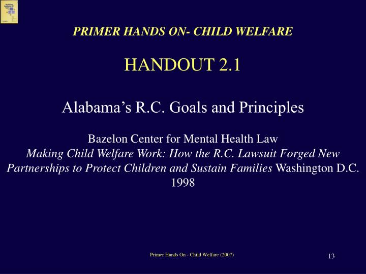 PRIMER HANDS ON- CHILD WELFARE