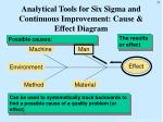 analytical tools for six sigma and continuous improvement cause effect diagram