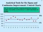 analytical tools for six sigma and continuous improvement control charts