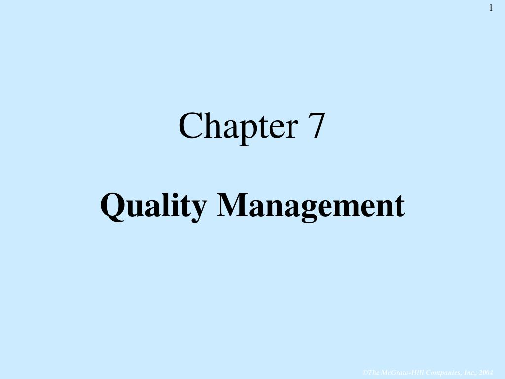 chapter 7 quality management l.