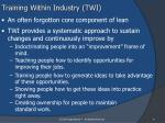 training within industry twi