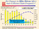 do changes in miles driven affect auto collision claim frequency
