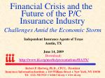 financial crisis and the future of the p c insurance industry challenges amid the economic storm