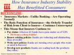 how insurance industry stability has benefitted consumers