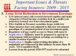 important issues threats facing insurers 2009 201530