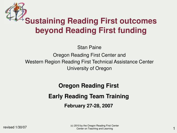 sustaining reading first outcomes beyond reading first funding n.