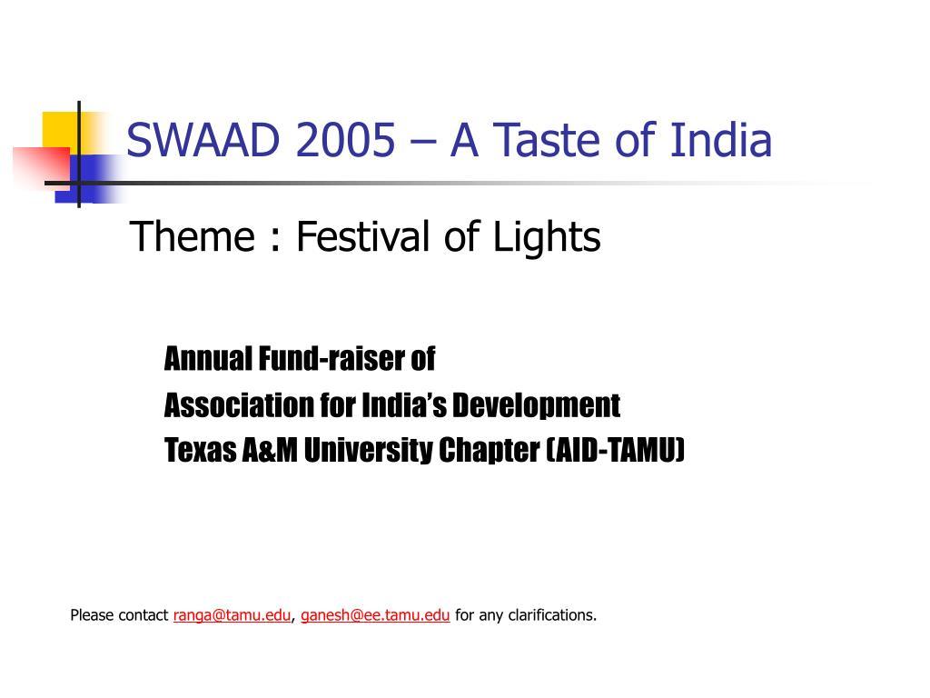 swaad 2005 a taste of india l.