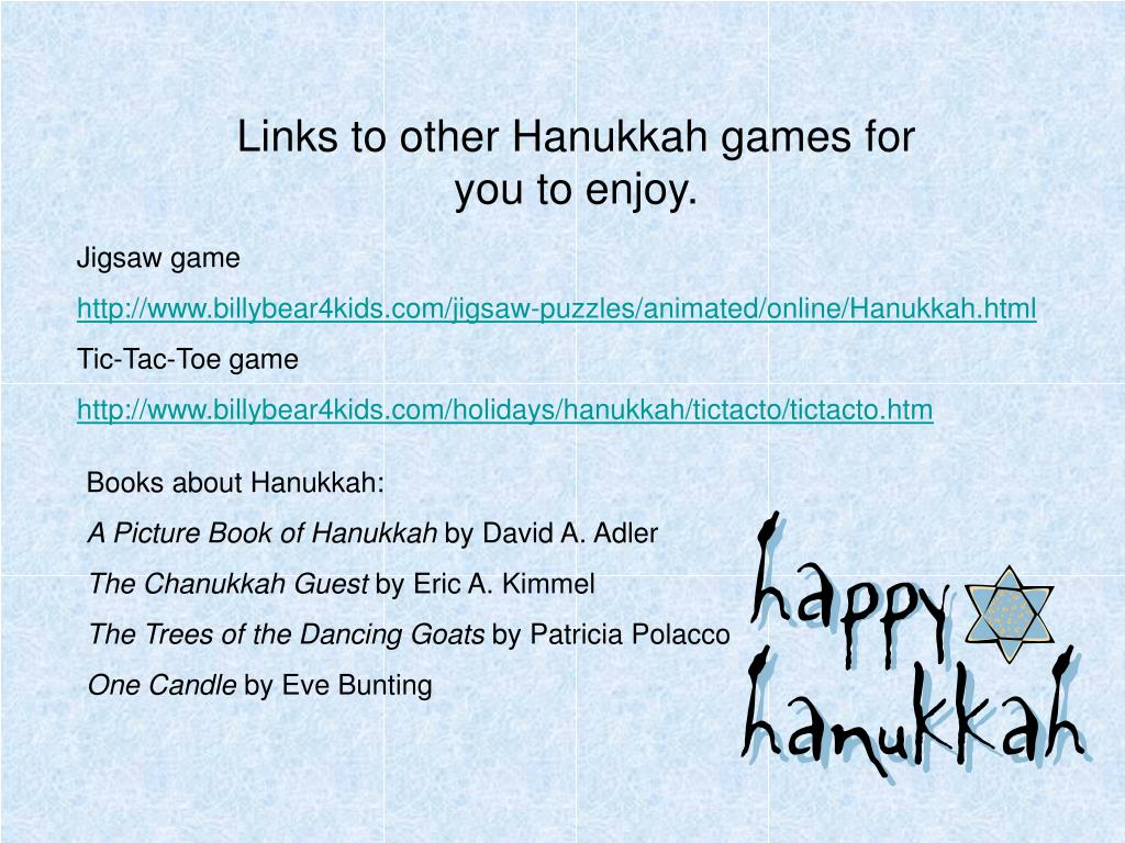 Links to other Hanukkah games for you to enjoy.
