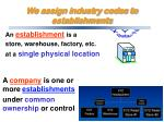 an establishment is a store warehouse factory etc at a single physical location
