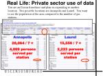real life private sector use of data