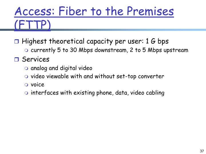 Access: Fiber to the Premises (FTTP)