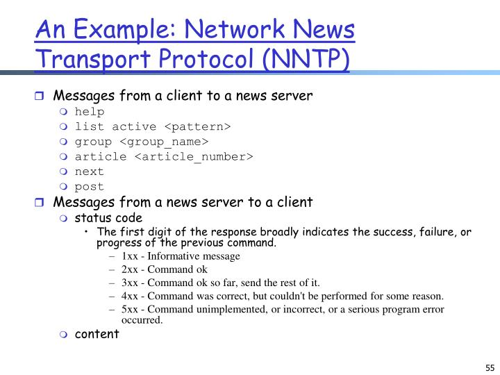 An Example: Network News Transport Protocol (NNTP)