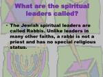 what are the spiritual leaders called