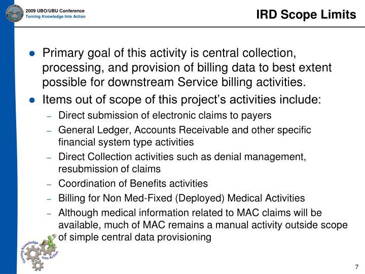 IRD Scope Limits