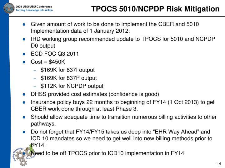 TPOCS 5010/NCPDP Risk Mitigation