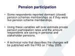 pension participation
