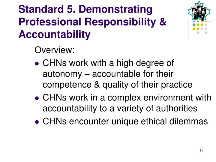 accountability of the nursing professional The nursing and midwifery council is the professional regulatory body for nurses and midwives in the uk our role is to protect patients and the public through efficient and effective regulation about us.